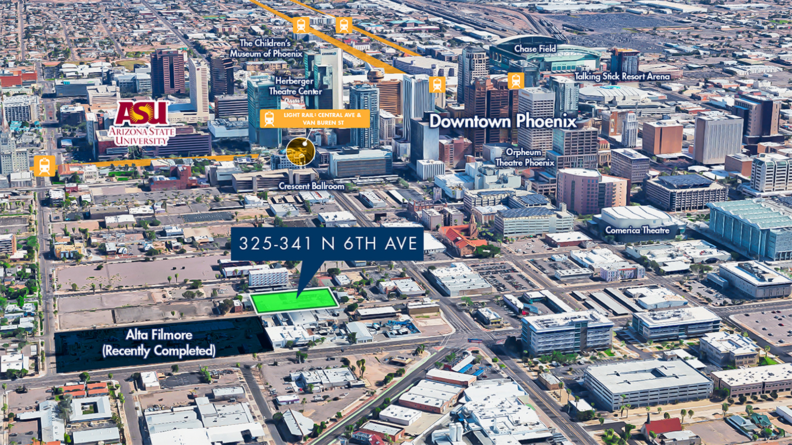 325 - 341 North 6th, Avenue, Phoenix, AZ 85004 | 0.83 Acres | Zoned DTC-VANB | $1,800,000 | $2,168,678 Per Acre | $49.66 Per SF