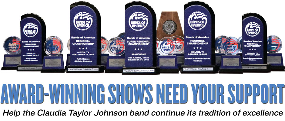 The trophies won by the CT Johnson band in 2017