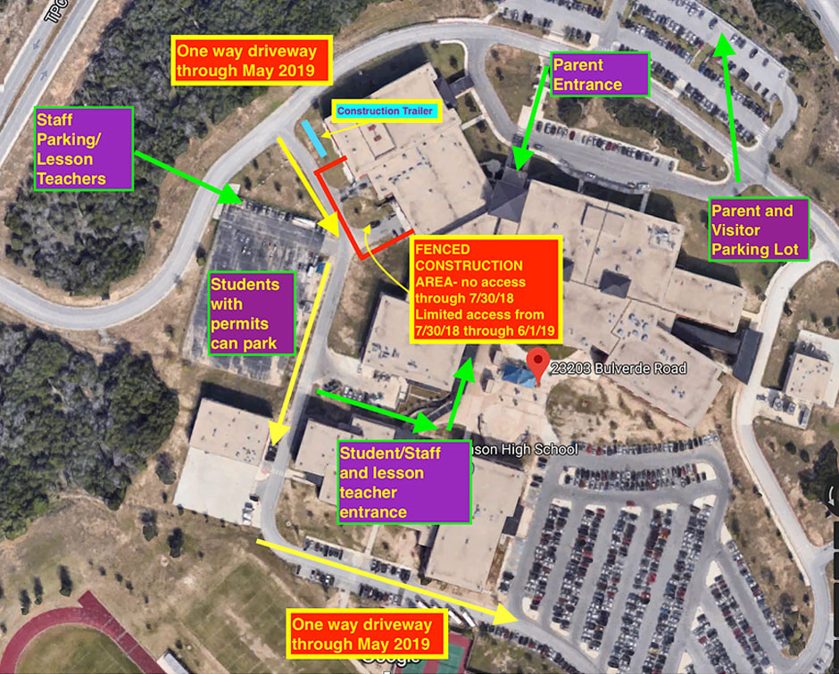 Map of the band hall construction at CTJ