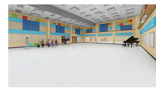 A rendering of inside the CTJ Band Hall expansion