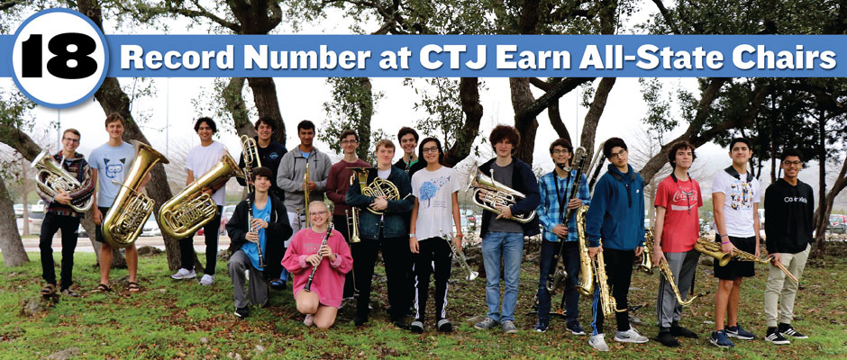 CTJ has a record 18 earn chairs in the TMEA All-State Band