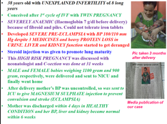 Preeclampsia, Anaemia, IVF, 32 weeks delivery