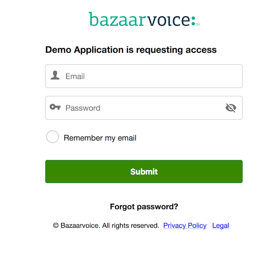 Bazaarvoice Portal access screen