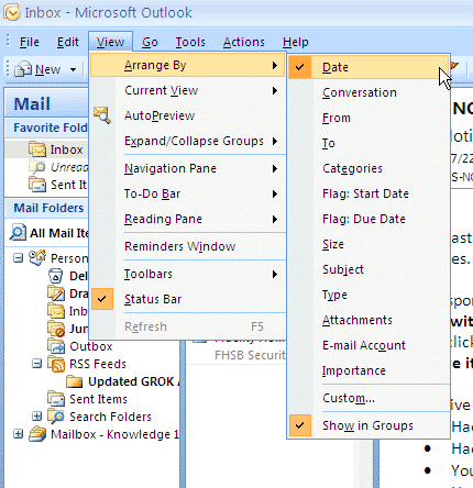 Arrange & Group Email in Microsoft Outlook