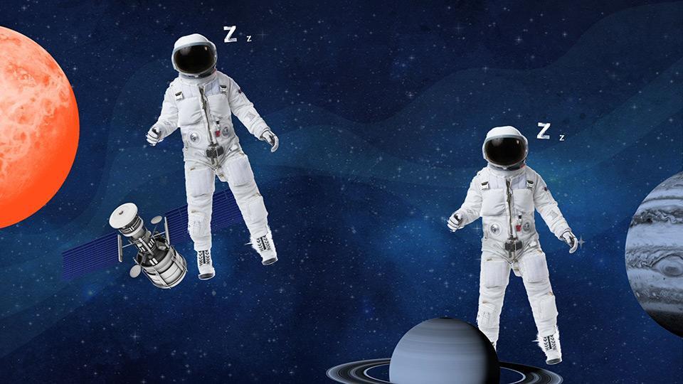 Image d'astronautes qui dorment dans l'espace.