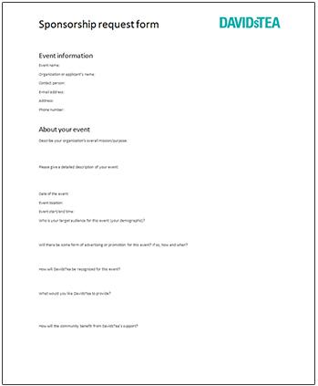 Sponsorship Request  Generic Sponsorship Form