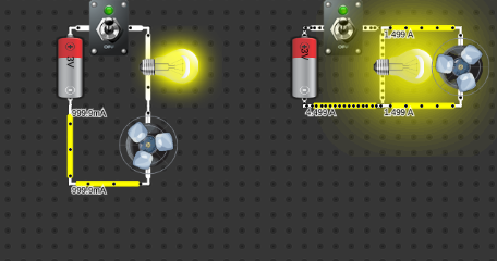 series and parallel (1 lamp + 1 motor)