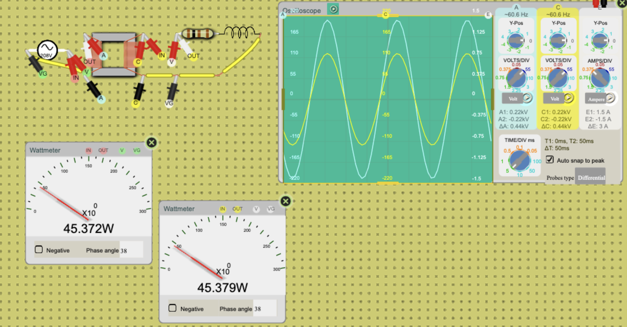 Wattmeter with custom phase angle.
