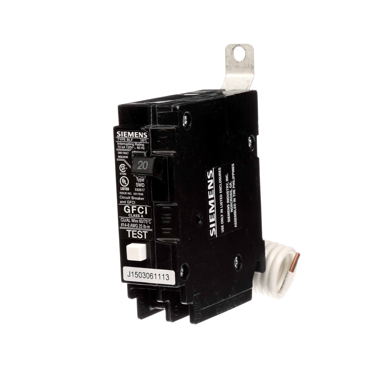 Siemens Industry BF120 1-Pole 20 Amp 120 Volt 10 K 5 mA Circuit Breaker