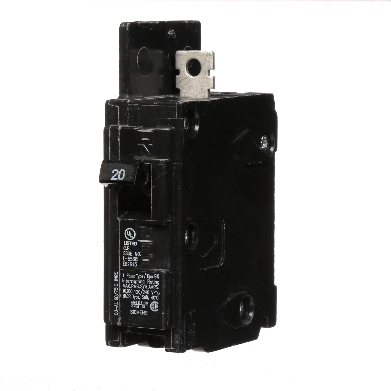 Siemens BQ1B020 1-Pole 20 Amp 120 Volt 10 K Circuit Breaker