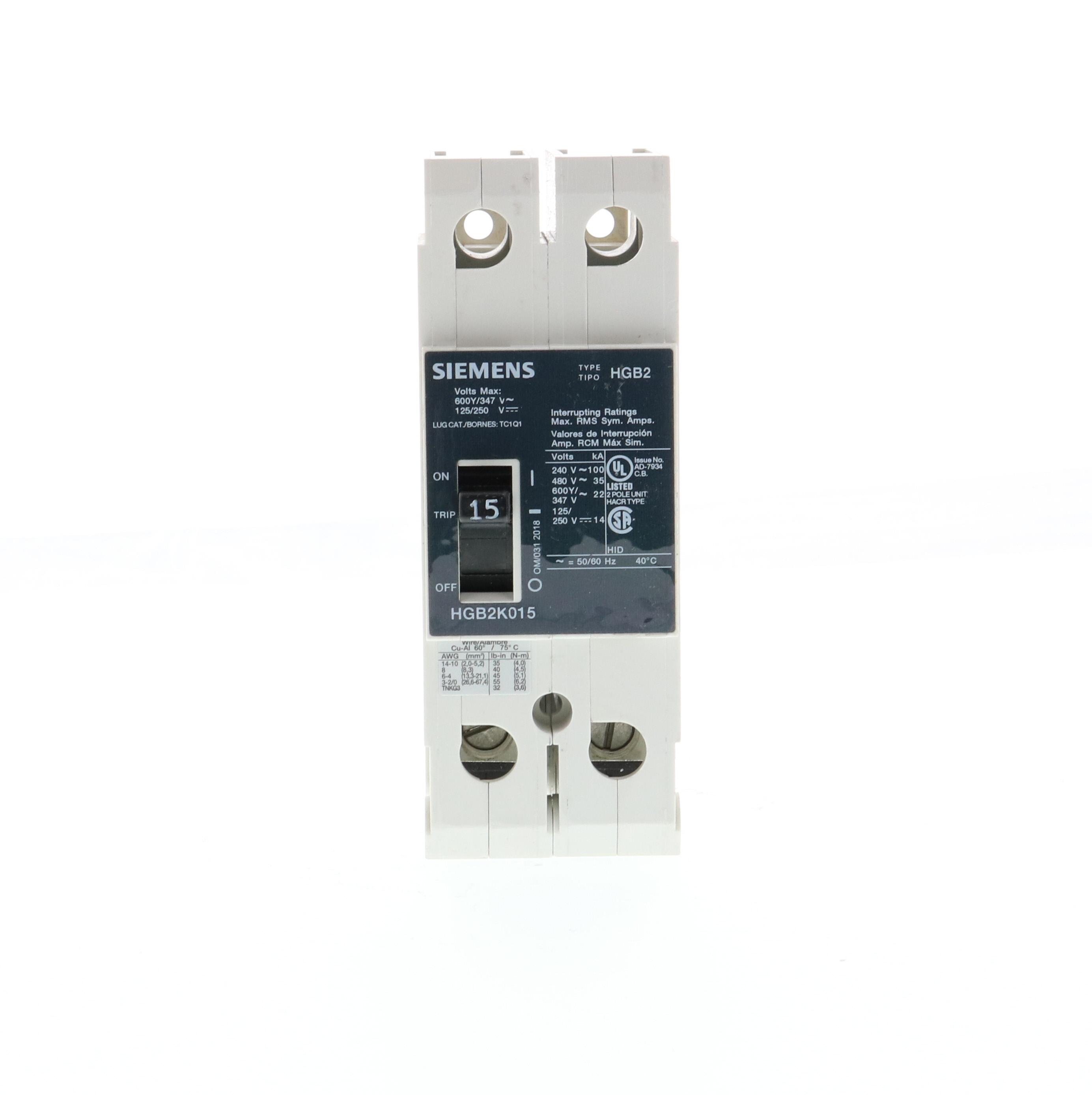 Siemens Ca HGB2K015B HGB2 MCCB, 600