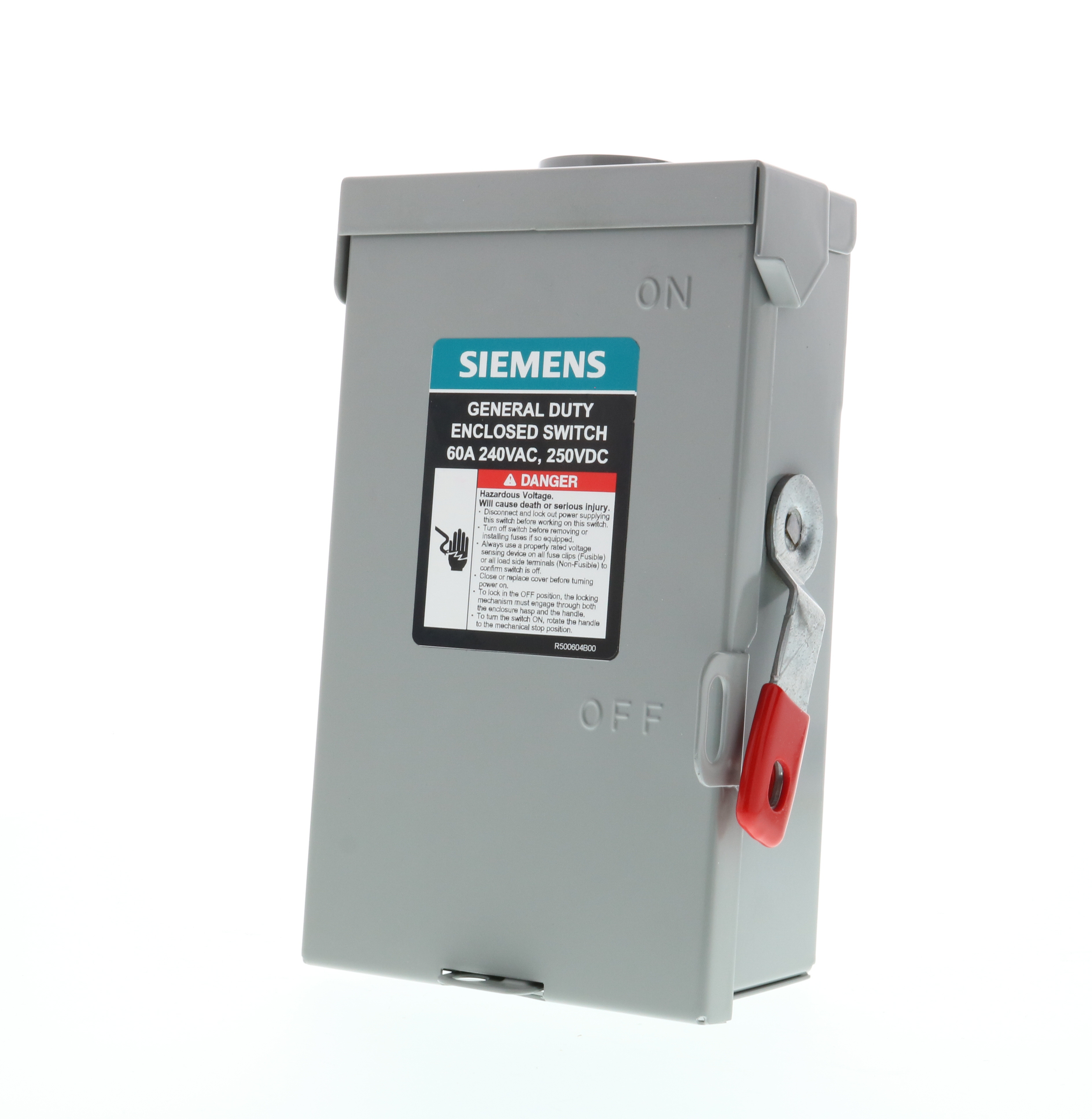 Siemens GNF322RA A Series Type VBII Enclosed Low Voltage Non-Fused General Duty Safety Switch, 240 VAC, 60 A, 10 hp, 15 hp, 3 Poles