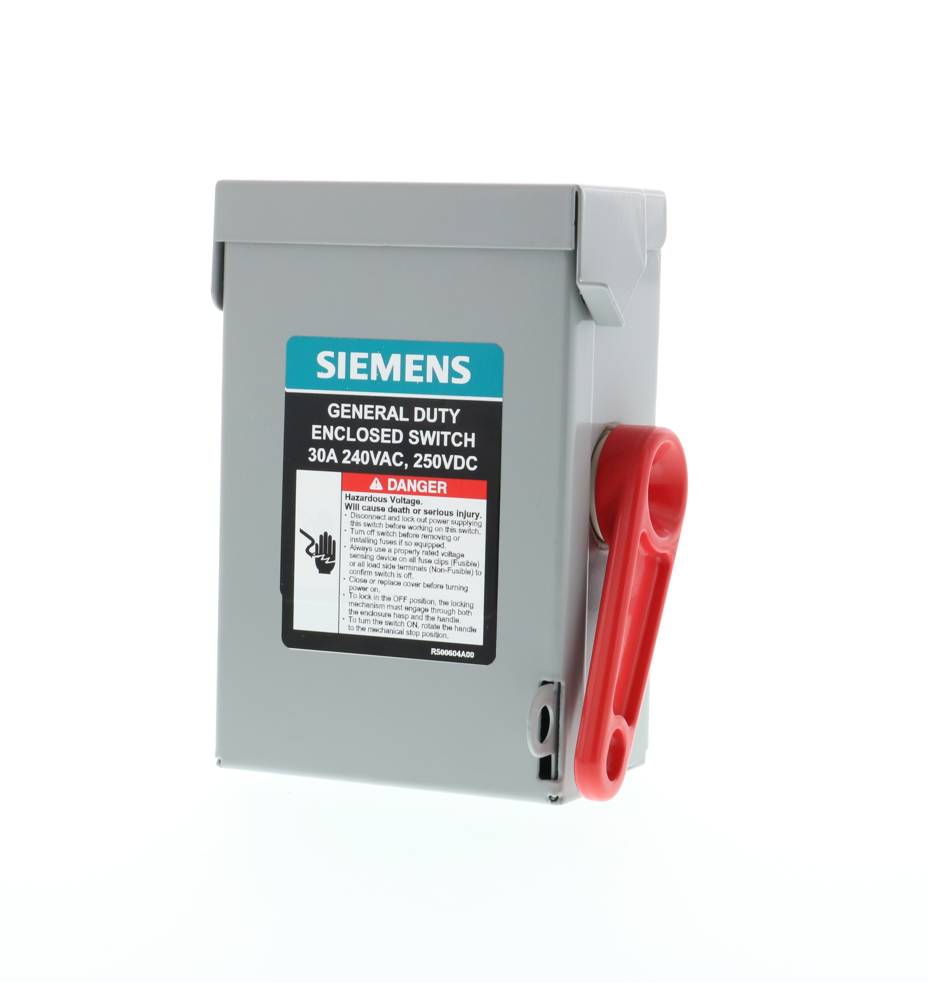 Siemens GNF321A A Series Type VBII Enclosed Low Voltage Non-Fused General Duty Safety Switch, 240 VAC, 30 A, 3 hp, 7-1/2 hp, 5 hp, 3 Poles