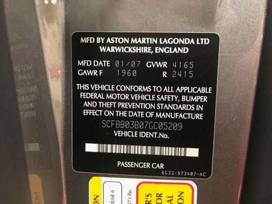 2007 Aston Martin V8 Vantage Coupe