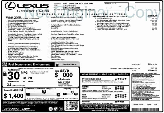 2017 Lexus RX 450h : Car has generic photo