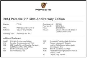 2014 Porsche 911 50th Anniversary Edition : Car has generic photo