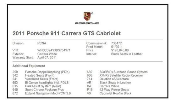 2011 Porsche 911 Carrera GTS : Car has generic photo