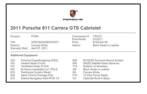 2011 Porsche 911 Carrera GTS : Car has generic photo