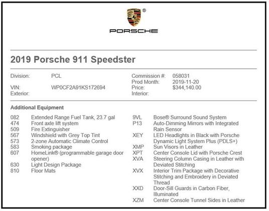 2019 Porsche 911 Speedster : Car has generic photo