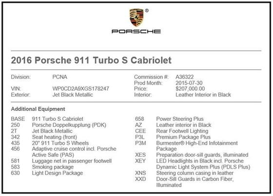2016 Porsche 911 Turbo S : Car has generic photo