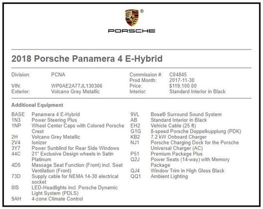 2018 Porsche Panamera 4 E-Hybrid : Car has generic photo