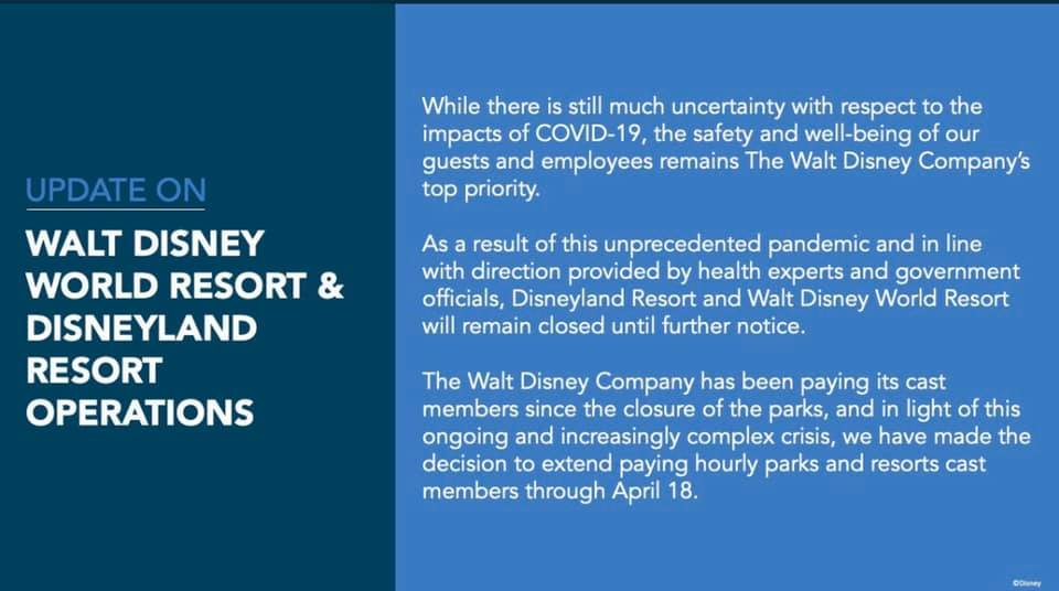 DL and WDW Closed