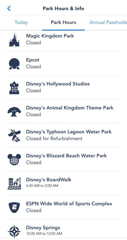 Disney Parks Closed
