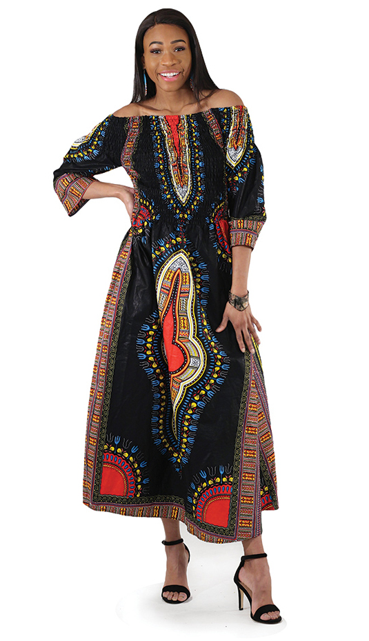African Clothing C-W123-BLK
