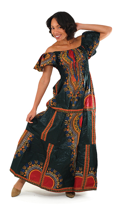 African Dress C-W075-GRE