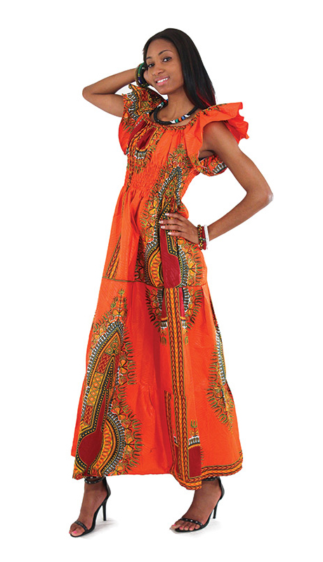 African Dress C-W075-OR