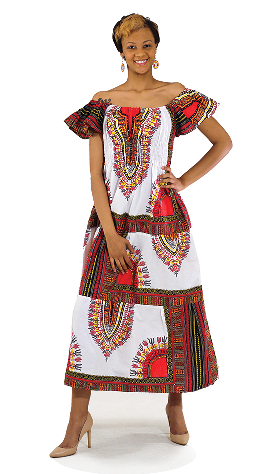 African Dress C-W075-WH