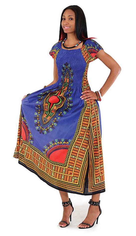 African Dress C-WF908-BLU