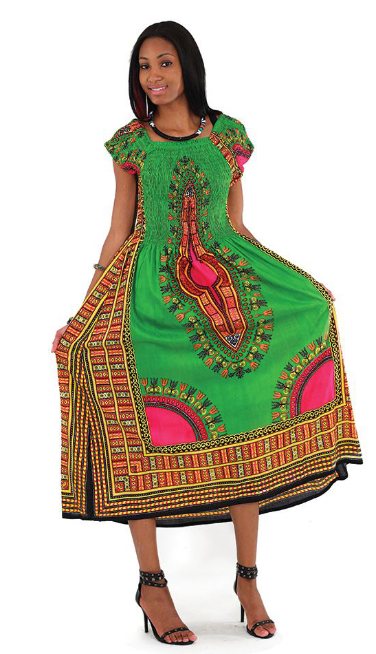 African Dress C-WF908-GRE