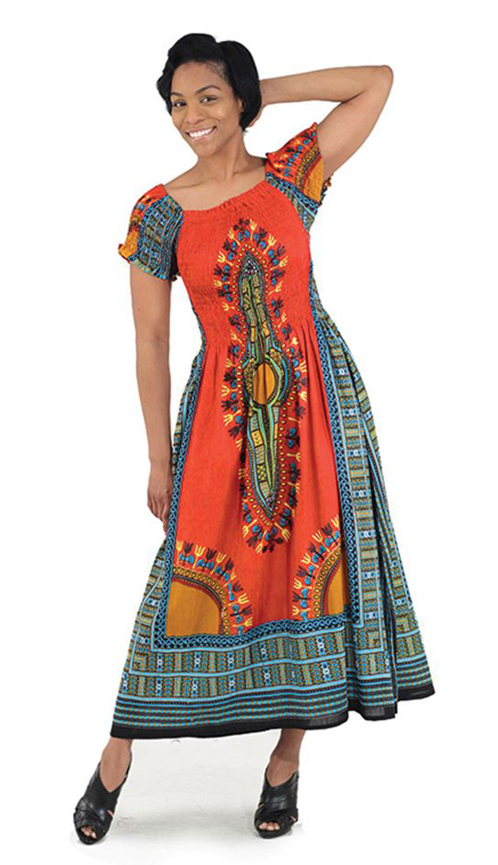 African Dress C-WF908-OR