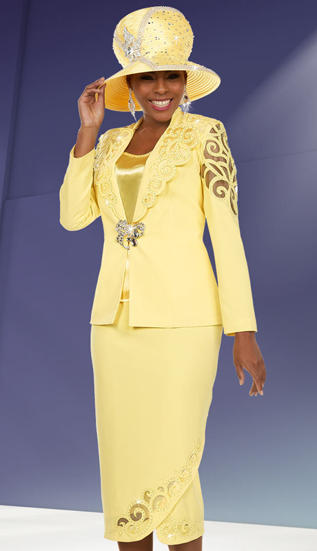Ben Marc 48107 ( 3pc Micro Fiber Womens Church Suit Tulip Style Skirt Suit With Cut-Out Pattern Design )