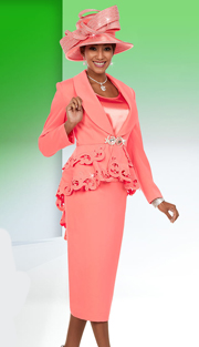 Ben Marc 48105 ( 3pc Micro Fabric Ladies Church Suit Suit With Shawl Lapel And Cut-Out Peplum Jacket )