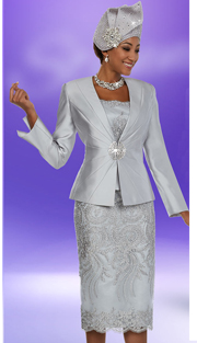Ben Marc 48109-PL ( 3pc Silky Twill Fabric Ladies Church Skirt Suit With Lace Applique Pattern Design )