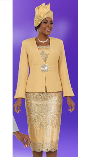 Ben Marc 48109-GO ( 3pc Silky Twill Fabric Ladies Church Skirt Suit With Lace Applique Pattern Design )