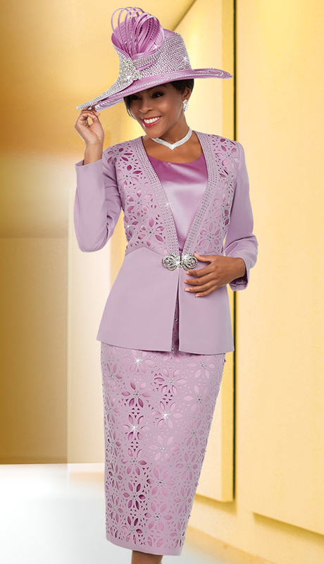 Ben Marc 48118 ( 3pc Silky Twill Fabric Womens Church Suit With Cut-Out Pattern )