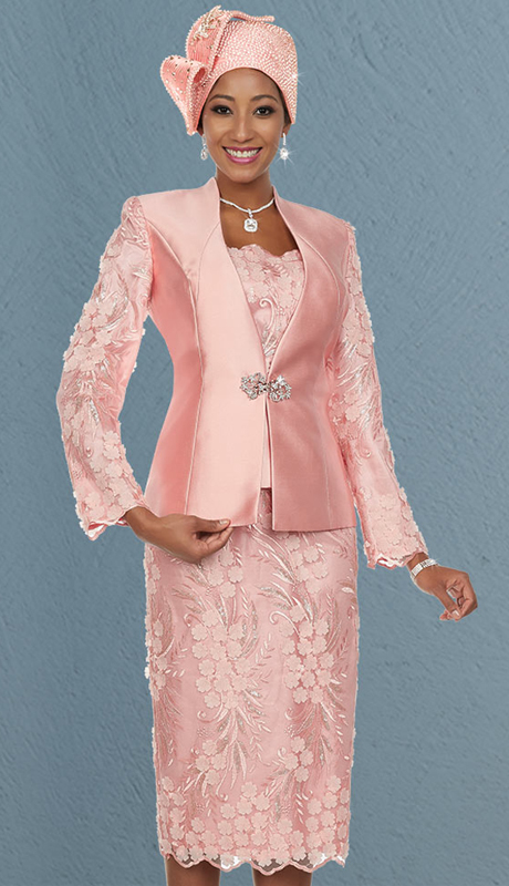 Ben Marc 48115 ( 3pc Silky Twill Fabric Womens Church Skirt Suit With Solid And Applique Design )