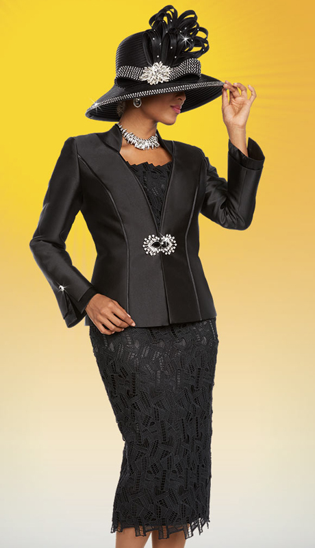 Ben Marc 48114 ( 3pc Silky Twill Fabric Womens Church Suit With Lace Skirt & Camisole Design )