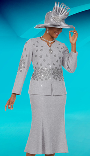 Ben Marc 48123 ( 3pc Knit Fabric Womens Church Suit With Flared Skirt And Stone Embellishments )