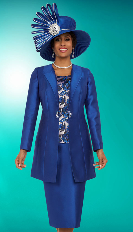 Ben Marc 48136 ( 3pc Silky Twill Womens Church Suit With Long Jacket And Floral Camisole )