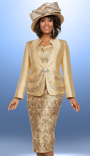 Ben Marc 48134 ( 3pc Silky Twill Fabric Womens Skirt Suit With Brocade Design )