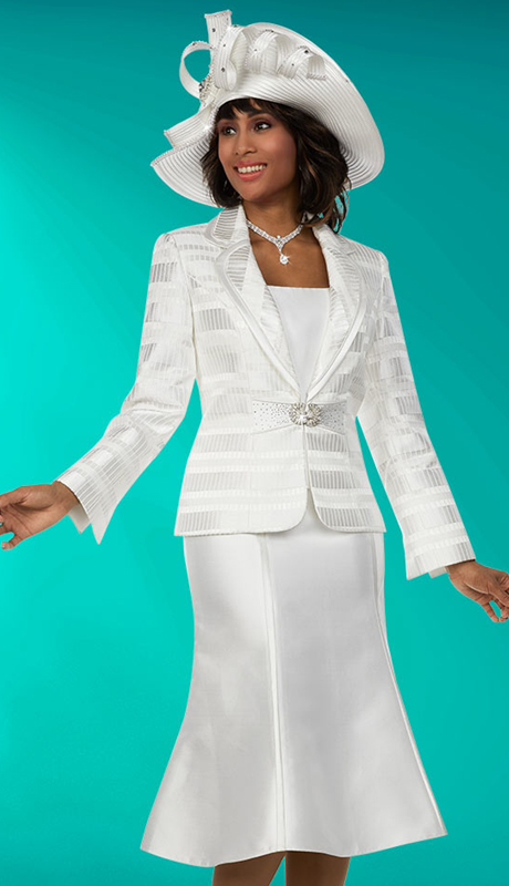 Ben Marc 48133 ( 3pc Silky Twill Fabric Womens Church Suit With Flared Skirt And Clover Lapel )