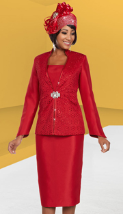 Ben Marc 48132 ( 3pc Satin Fabric Womens Church Suit With Cut-Out Design )