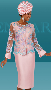 Ben Marc 48138 ( 3pc Silky Twill Fabric Womens Skirt Suit With Mesh And Floral Design )