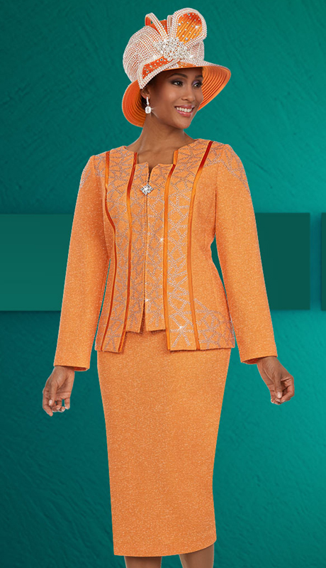 Ben Marc 48130 ( 3pc Knit Fabric Womens Skirt Suit With Piping Panel Design )