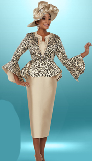 Ben Marc 48102 ( 3pc Silky Twill Fabric Ladies Church Suit, Skirt Suit With Animal Print Peplum Jacket )