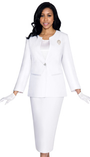 G13273-WH ( 3pc PeachSkin GMI Church And Choir Suit ) <b> ( Each Suit Includes Free Pair Of White Gloves )</b>